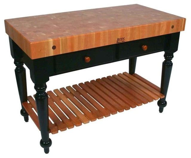 Rectangular Table In Cherry End Grain Top 30 In X 24 In Traditional Kitchen Islands And