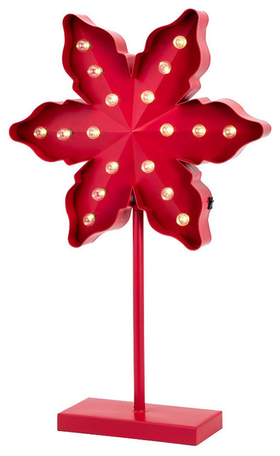 Christmas Large Lighted Poinsettia Metal On Stand, Red.