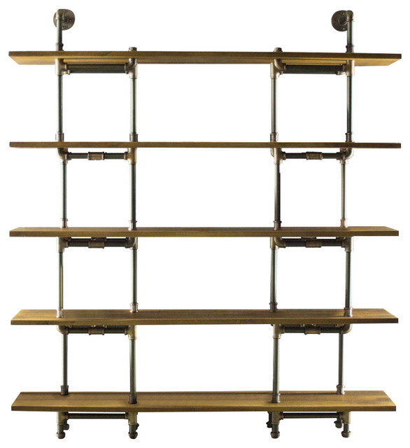 Os Home And Office Industrial 64 5-Shelf Pipe Bookcase, Reclaimed Aged Wood.
