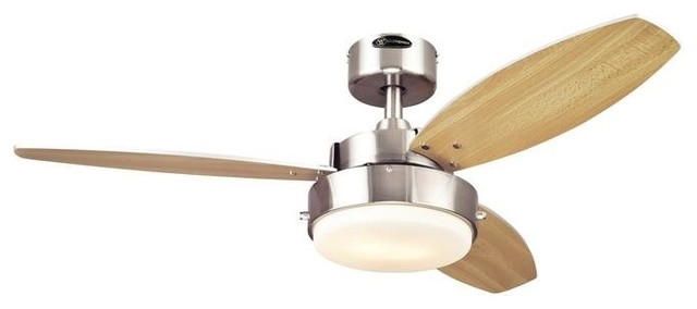 Alloy Fan, Brushed Nickel Reversible Blades With Light Fixture Included, 42.