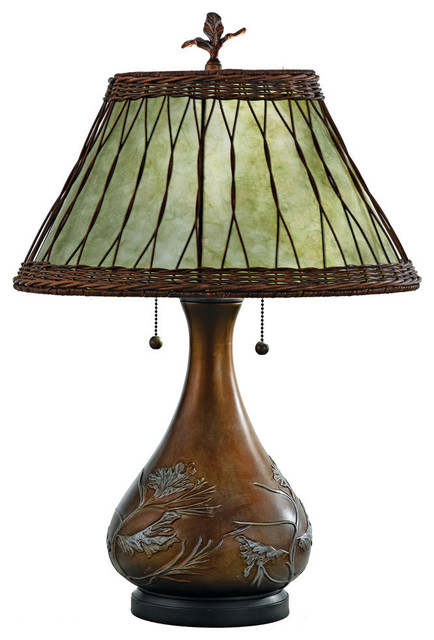 Shop houzz quoizel rustic lighting mica table lamp for Houzz rustic lighting