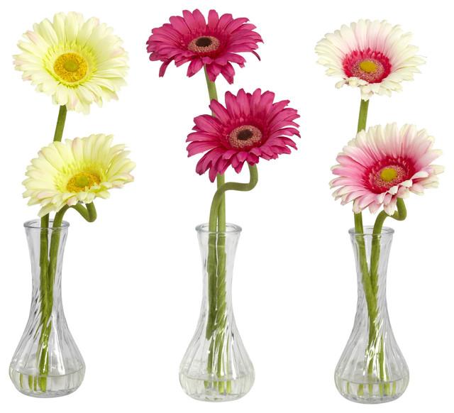 Gerber Daisy Arrangements With Bud Vases 3 Piece Set Contemporary