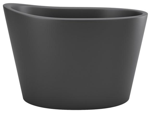 Aquatica True Ofuro Black Freestanding Stone Japanese Soaking Bathtub