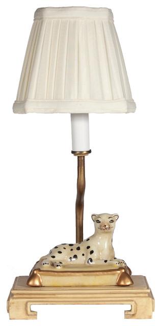 lampstoreoriginals small porcelain leopard accent lamp table lamps. Black Bedroom Furniture Sets. Home Design Ideas