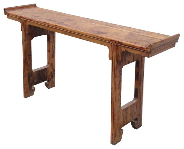 Superieur Chinese Narrow Rustic Raw Wood Altar Console Table