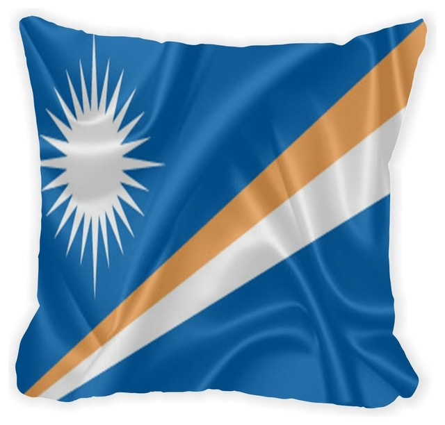 Marshall Islands Flag Microfiber Throw Pillow Contemporary Cool Marshalls Decorative Pillows