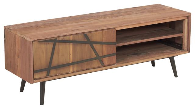 Modern Salvaged Teak Wood Steel Tv Console 1 Sliding Door Sakura Collection