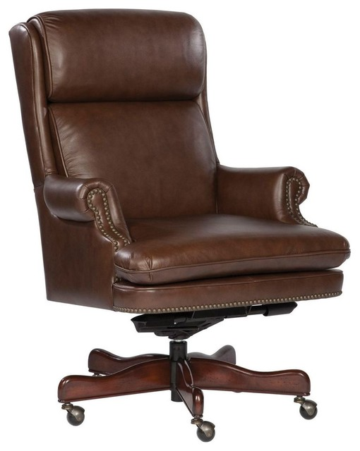 Hekman 7-9252c Leather Executive Chair, Coffee.