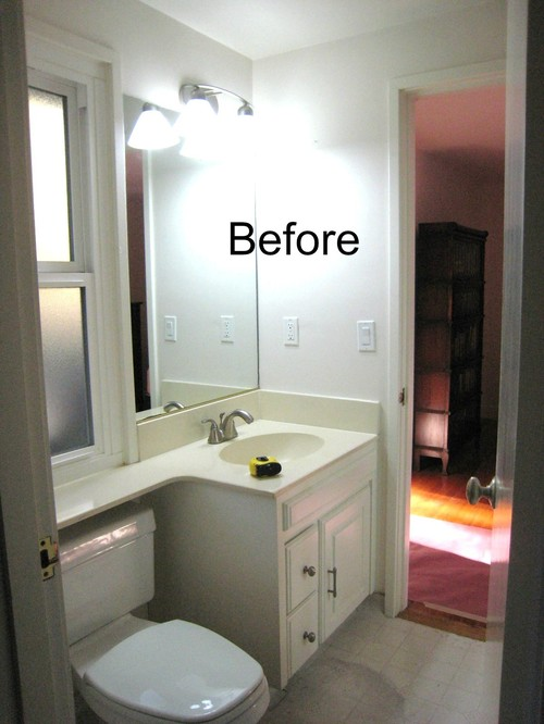 Pebble beach compact jack jill bathroom remodel for Jack and jill bathroom vanity