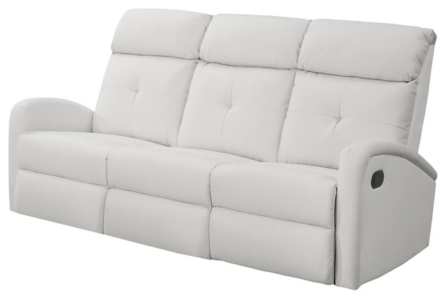 Reclining Sofa, Bonded Leather, White.