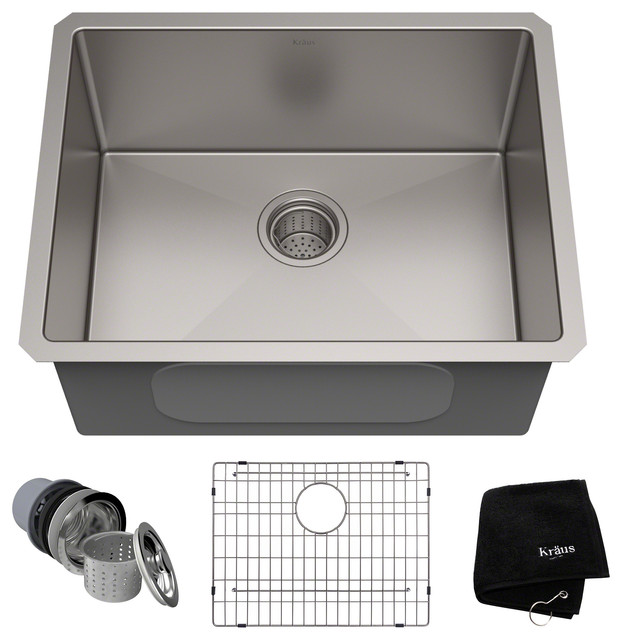 "Kraus Standart Pro 23"" 16 Gauge Undermount Single Bowl Stainless Steel Sink."