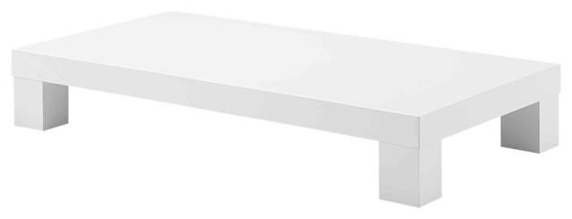 Low Profile Rectangular Coffee Table, White Finish