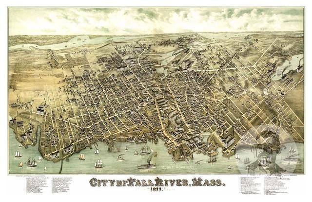 Historic Fall River Ma Map 1877 Vintage Massachusetts