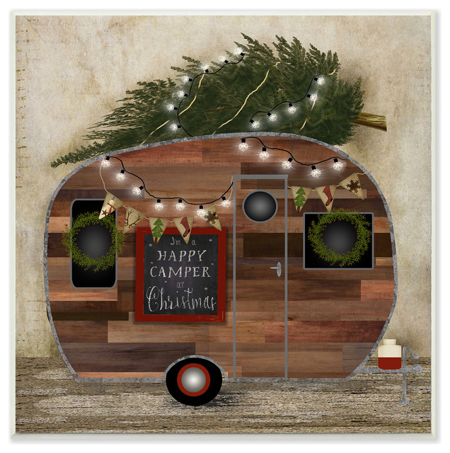 """Happy Camper At Christmas Plaque, 12""""x0.5""""x12"""""""