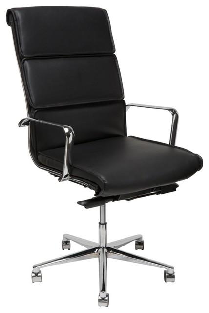 46 5 Tall Adjustable Swivel Office Chair Black Faux Leather Chrome Aluminium