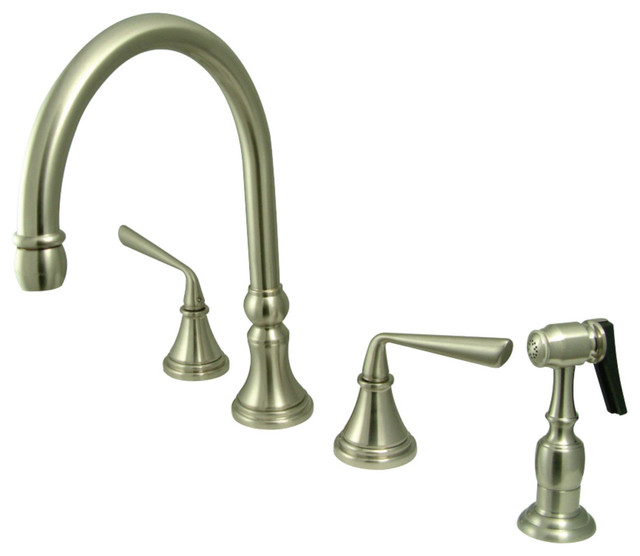 Kingston Brass Silver Sage Widespread Kitchen Faucet, Brushed Nickel