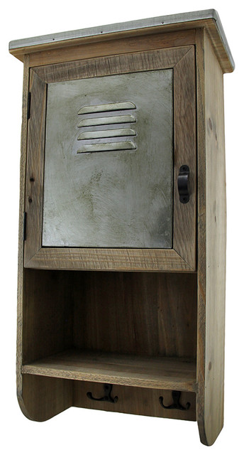 Rustic Reclaimed Wood Wall Cabinet With Shelf and Hooks ...