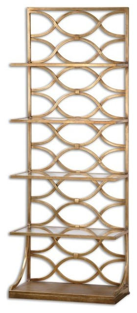 Open Gold Iron Etagere Standing Shelf Contemporary