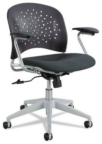 Safco Reve Series Task Chair, Round Plastic Back, Polyester Seat, Black.