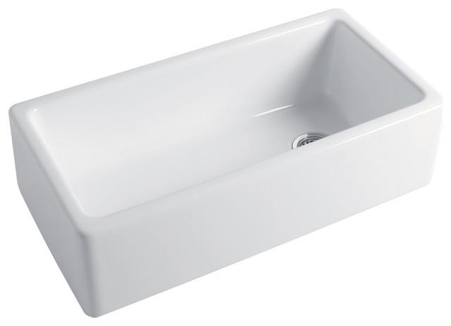 "Transolid Porter 36""x18""x10"" Farmhouse Super Single Bowl Undermount Sink, White."
