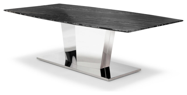 Black And White Marble Brushed Stainless Steel Sirah Coffee Table  Contemporary Coffee Tables