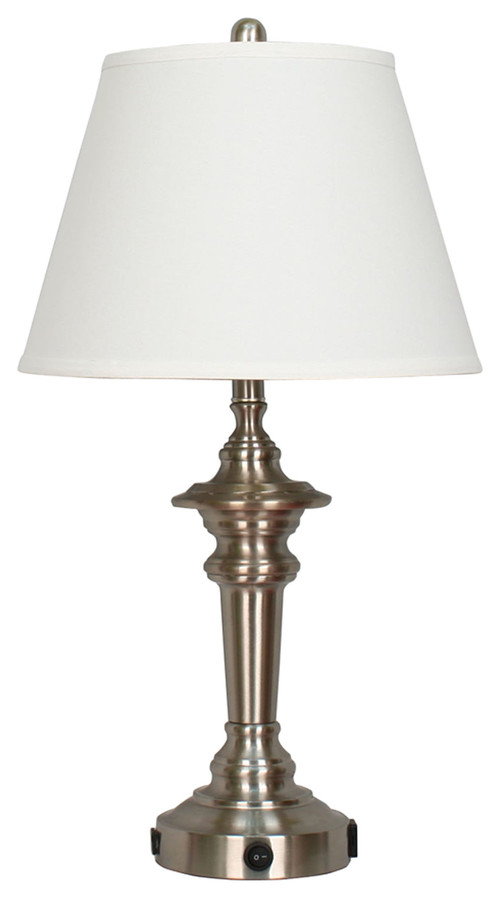 """Fangio Lighting 27.88"""" Metal Tech Table Lamp With USB Outlet"""