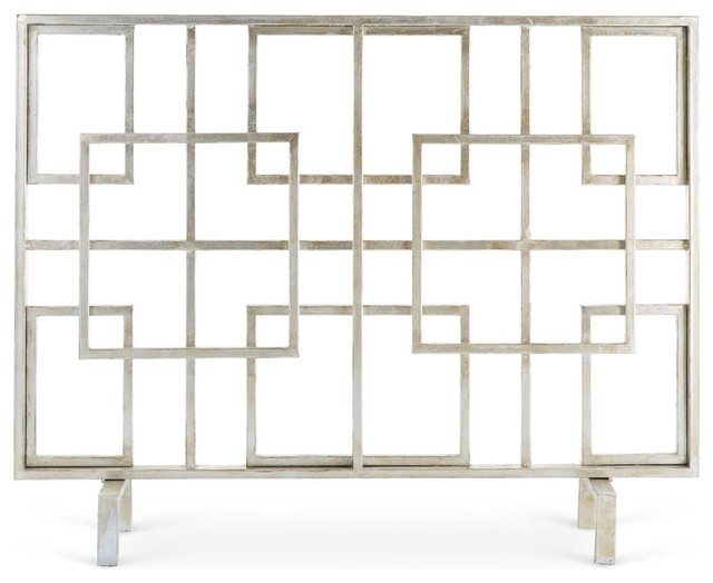 Antique Silver Squares Fire Screen.
