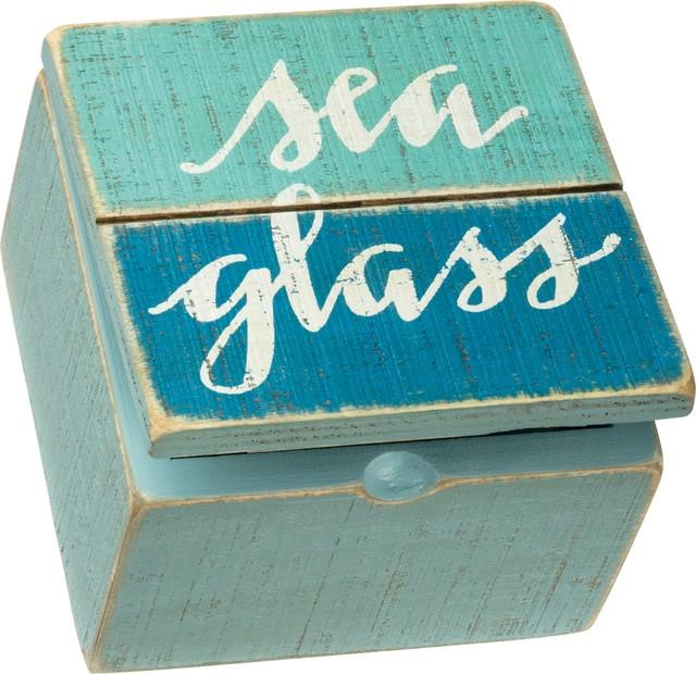 Sea Glass Slatted Wood Hinged Treasure Box Beach Memories 4 Inches