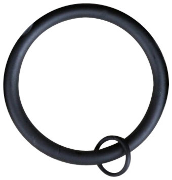 "Urbanest Set Of 16, 2 1/2"" Curtain Rings With Eyelets, Black."