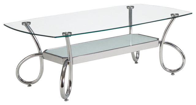 Global Furniture Usa 559c Rectangular Clear Gl Coffee Table With Chrome Legs