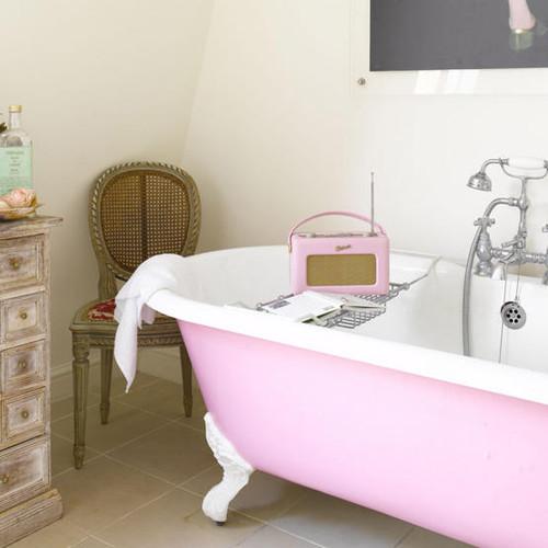 eclectic pink bath- livingetc eclectic bathroom