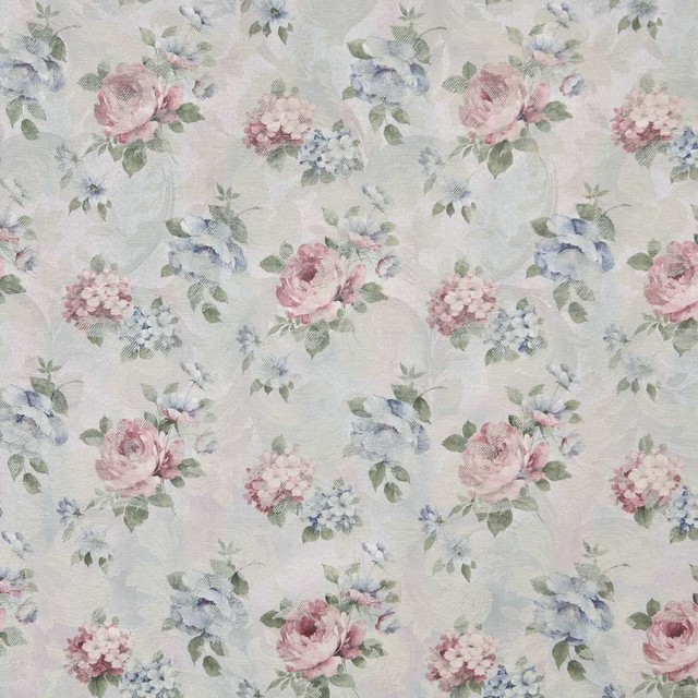 Blue, Pink And Green, Pastel Floral Roses Woven Upholstery Fabric ...