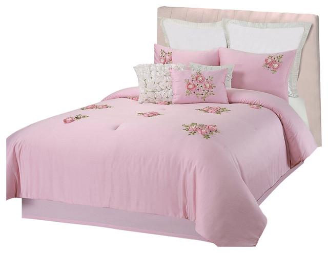 Rosetta Floral Bouquet Applique Pink 5 Piece Comforter Bed