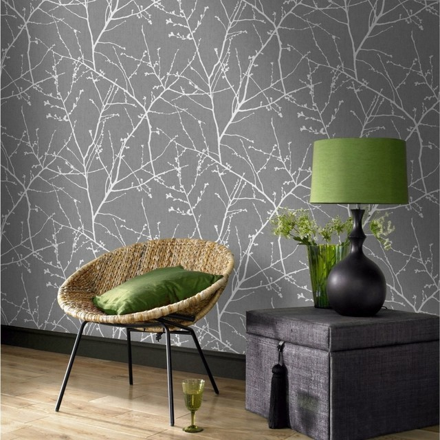 Innocence Charcoal/Silver Wallpaper by Graham & Brown