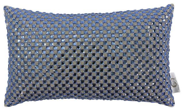 Glitter Pillow With Swarovski Crystals, Blue.