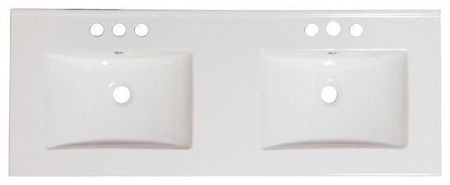 48x18.25 Ceramic Top, White Color For 4o.c. Faucet.