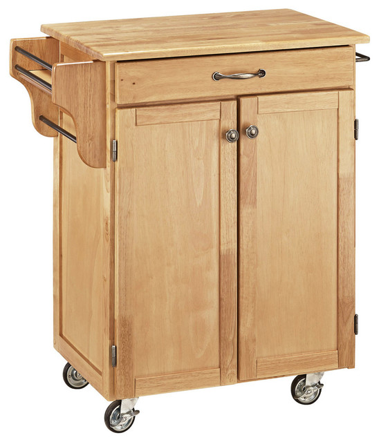 Cuisine cart natural finish with natural wood top for Home styles natural kitchen cart with storage