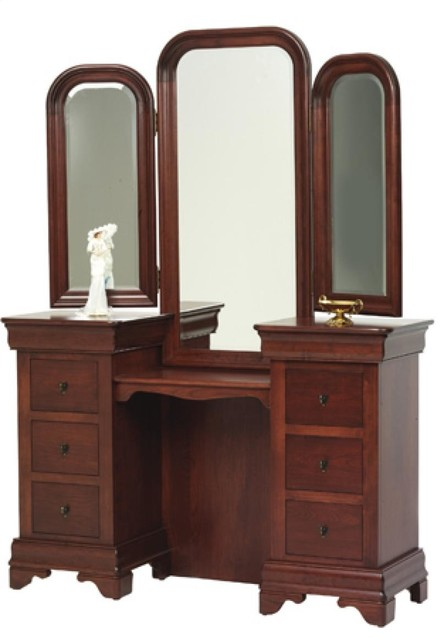 louis phillipe vanity with tri mirror traditional