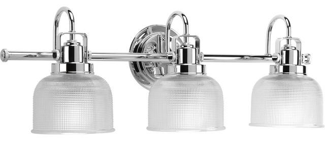 Medium 3 Light Bath Fixture, Polished Chrome Traditional Bathroom Vanity  Lighting