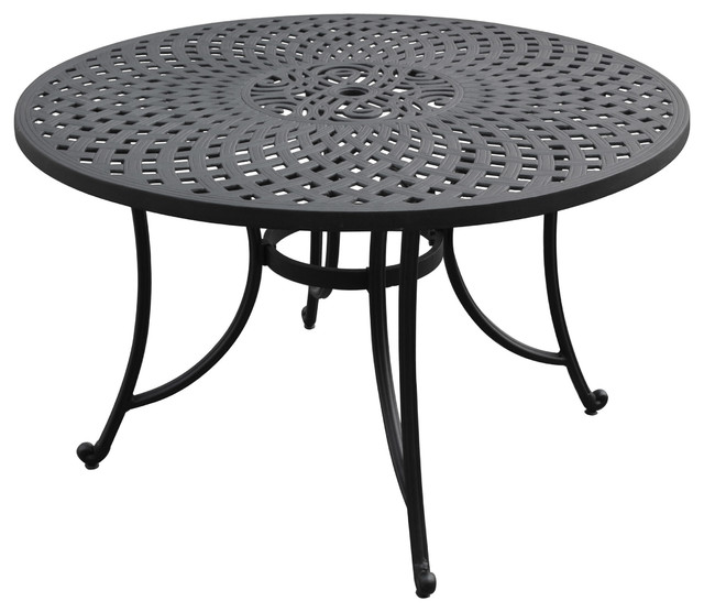 Sedona Cast Aluminum Dining Table Charcoal Black Finish Traditional Outdoor Tables By Crosley