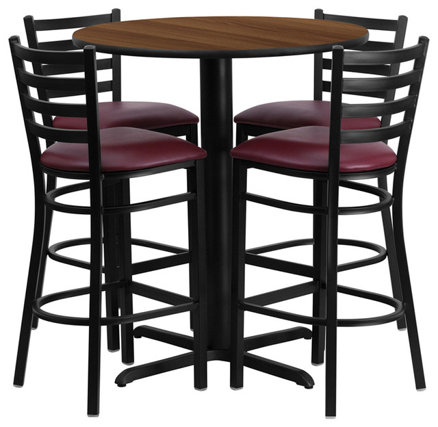 30  Walnut Laminate Table Set With 4 Ladder Back Bar Stools Burgundy Seat contemporary-  sc 1 st  Houzz & 30