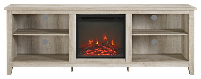 """We Furniture 70"""" Wood Media Tv Stand Console With Fireplace, White Oak."""