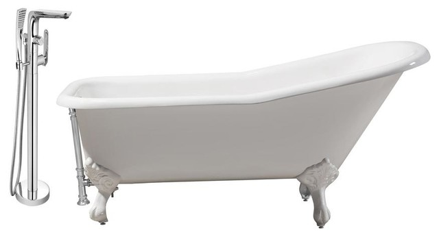 """Faucet And Cast Iron Tub Set 66"""" Rh5281wh-Ch-120."""