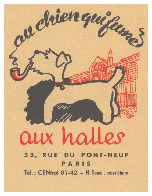 Cool Culinaria The Smoking Dog, Au Chien Qui Fume Paris 1950s - Fine Art Prints : Houzz