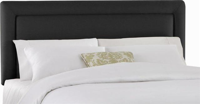 Upholstered Headboard With Foam Padding In Twill Black, Queen.