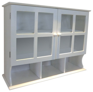 Wall Mounted Cabinet White Mdf With 2 Glass Doors And 1 Adjustable Shelf Traditional Storage Cabinets By Decor Love Houzz Uk