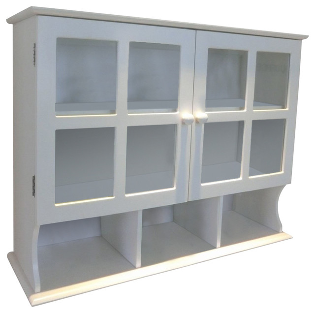Wall Mounted Cabinet White Mdf With 2 Glass Doors And 1 Adjustable