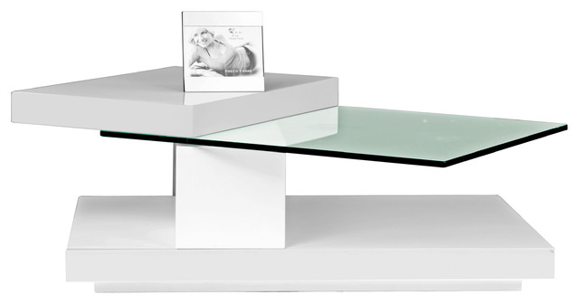 Hi-Gloss Coffee Table With Swivel Tops, White.