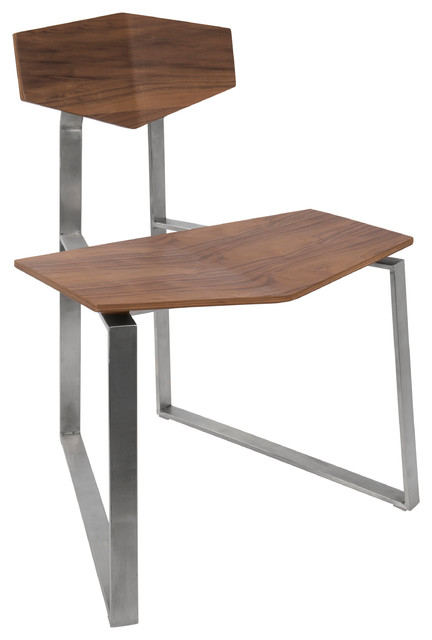 LumiSource Flight Modern, Dustrial Stainless Steel Chair, Walnut Wood, Set of 2