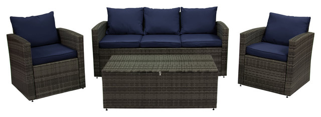 Rio 4-Piece Wicker Conversation Set With Storage, Gray Wicker/navy Cushions.